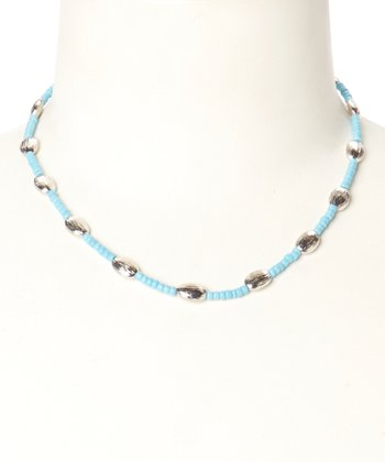Silver & Turquoise Beaded Necklace