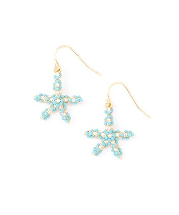 Turquoise Starfish Rhinestone Drop Earrings