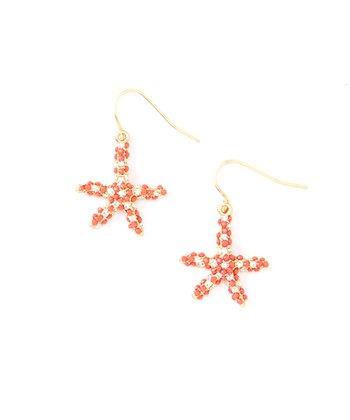 Coral Starfish Rhinestone Drop Earrings