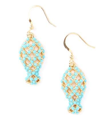 Turquoise Fish Drop Earrings