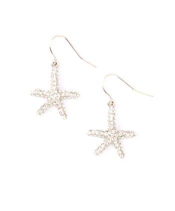 Crystal & Silver Starfish Drop Earrings