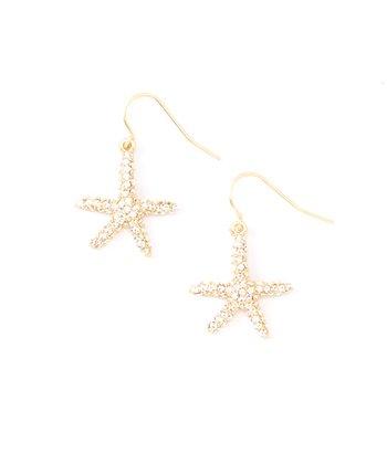 Crystal & Gold Starfish Drop Earrings