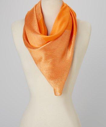 Orange Shimmer Silk-Blend Scarf