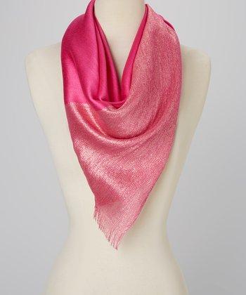 Pink Shimmer Silk-Blend Scarf
