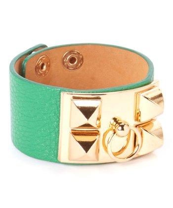 Gold & Green Studded Bracelet