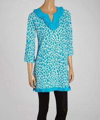 Turquoise Raindrop Pleated Tunic
