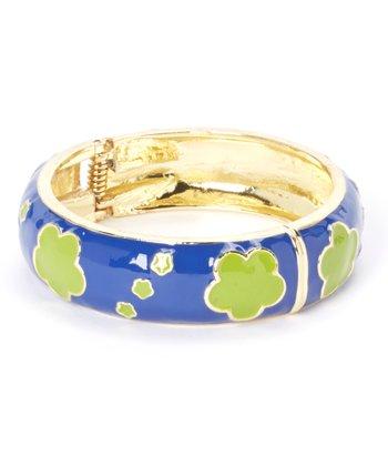 Blue & Green Clover Hinge Bangle