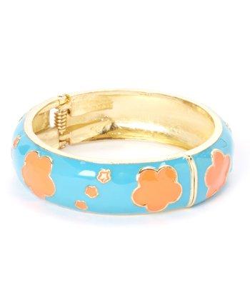 Blue & Orange Clover Hinge Bangle