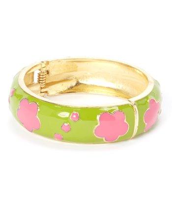 Green & Pink Clover Hinge Bangle