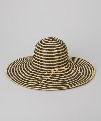 Black & Tan Thin Stripe Sunhat