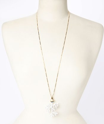 White & Gold Coral Pendant Necklace