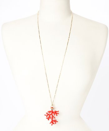 Coral & Gold Coral Pendant Necklace