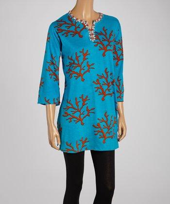 Turquoise & Coral Sea Life Embellished Tunic