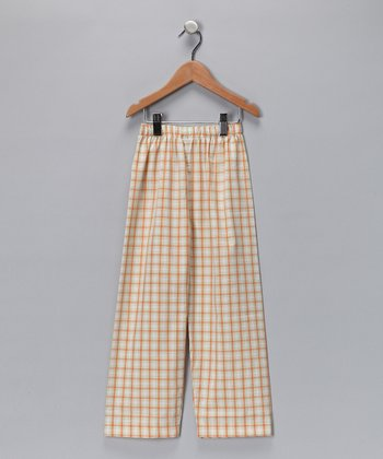 Orange & Green Plaid Tractor Pants - Infant, Toddler & Boys
