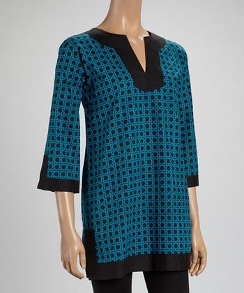 Black & Blue Mosaic Tunic