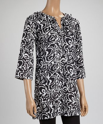 White & Black Abstract Tunic