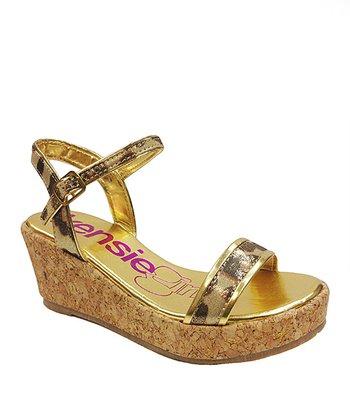 kensiegirl Gold Leopard Wedge Sandal