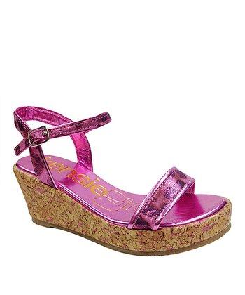 kensiegirl Pink Metallic Leopard Wedge Sandal