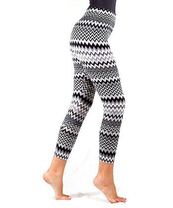 Black Zigzag Static Shaper Leggings - Women