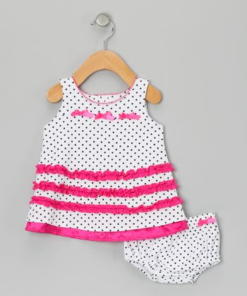 Raspberry Truffle Bow Dress & Diaper Cover