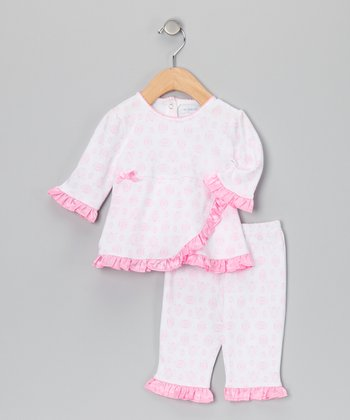 Light Pink Damask Wrap Top & Pants - Infant