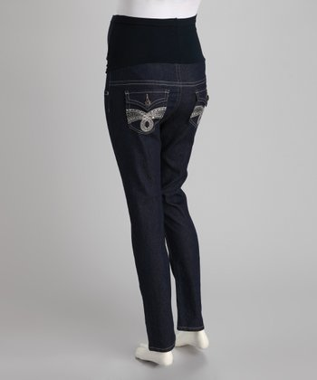 Blue Flap Pocket Over-Belly Maternity Skinny Jeans - Women