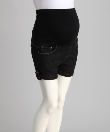 Black Over-Belly Maternity Shorts