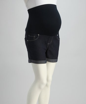 Blue Swirl Pocket Over-Belly Maternity Shorts
