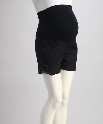 Dark Blue Over-Belly Maternity Shorts