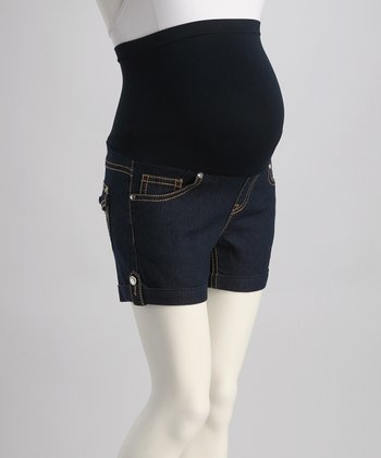 Blue Over-Belly Maternity Shorts