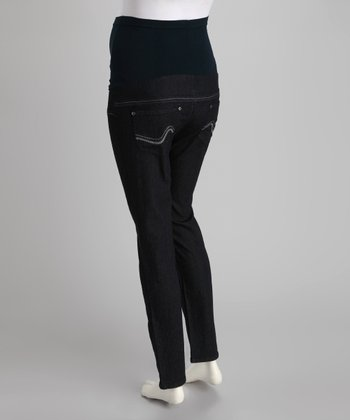 Dark Blue Swoop-Stitch Over-Belly Maternity Skinny Jeans - Women
