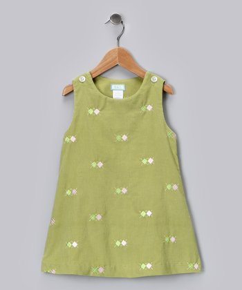 Leaf Green Argyle Corduroy Ruffle Jumper - Infant, Toddler & Girls
