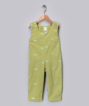 Leaf Green Argyle Corduroy Overalls - Toddler