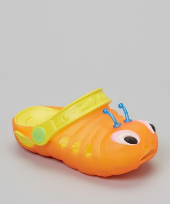 P&W Shoes Orange & Yellow Bug Clog - Kids