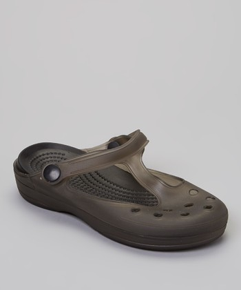 P&W Shoes Black T-Strap Clog - Kids
