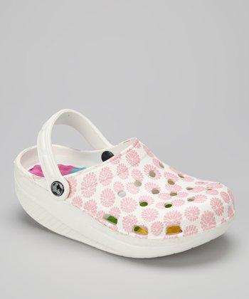 Evacol U.S. White & Pink Flower Clog - Women