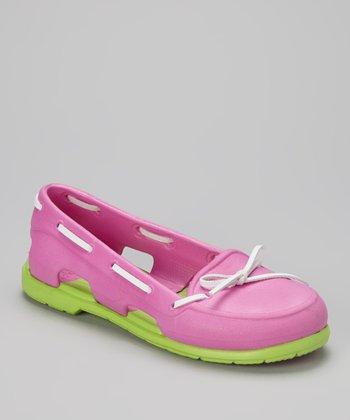 Evacol U.S. Fuchsia & Green Boat Shoe - Women