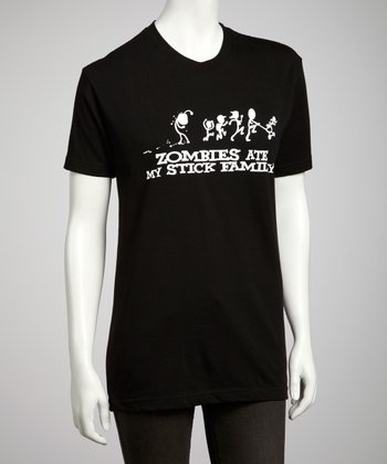 Black 'Zombies Ate My Stick Family' Tee - Kids & Adult