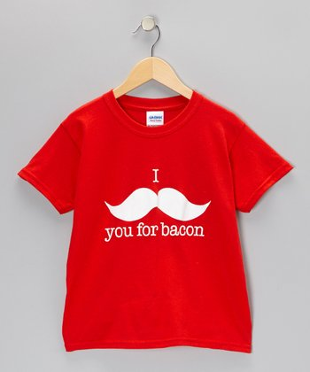 Red 'I Mustache You For Bacon' Tee - Kids & Adult