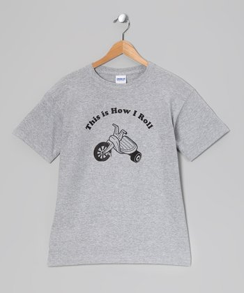 Crazy Dog Heather Gray 'How I Roll' Big Wheel Tee - Toddler & Kid