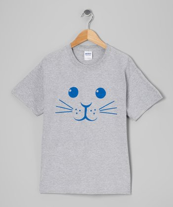 Heather Gray Bunny Face Short-Sleeve Tee - Kids