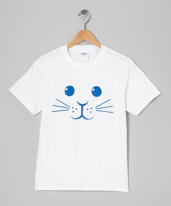White Bunny Face Short-Sleeve Tee - Kids