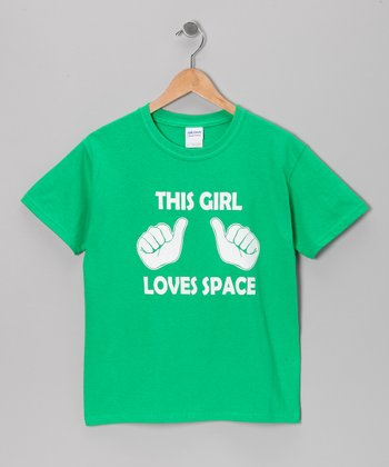 Green 'This Girl Loves Space' Tee - Kids & Adults