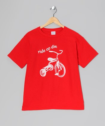 Crazy Dog Red 'Ride or Die' Tricycle Tee - Toddler & Kids
