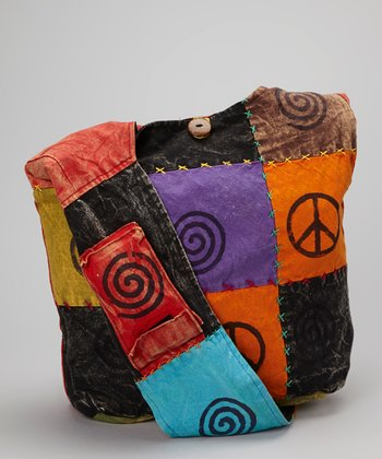 Black & Orange Patchwork Peace Hobo Bag