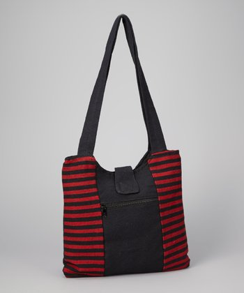 Red & Black Stripe Shopper