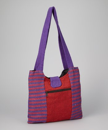 Purple & Red Stripe Shopper