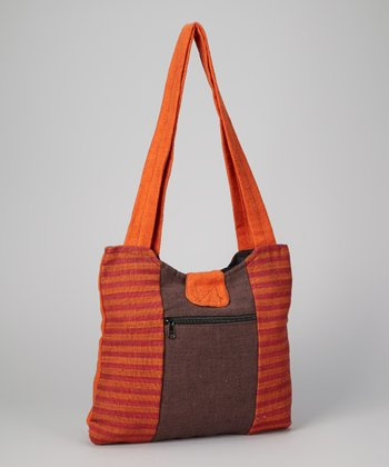 Orange & Brown Stripe Shopper
