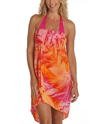 Santiki Pink & Orange Tie-Dye Lee Convertible Hi-Low Dress