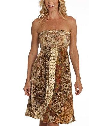 Santiki Hawaii Brown Smocked Hope Strapless Dress